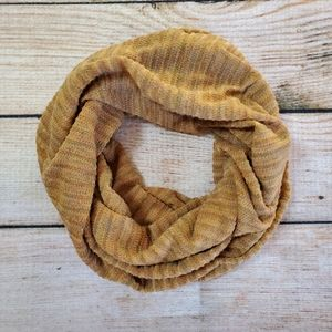 Camel Brown Iridescent Ribbed Knit Infinity Scarf